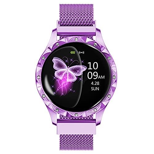 FVIWSJ Smart Watch for Women and Men 1.3 Pulgadas Pantalla Touch Round Redondo Smart Watch,Relojes Inteligentes Mujer,IP67 Pantalla Táctil Resistente Agua para iOS Android,Púrpura