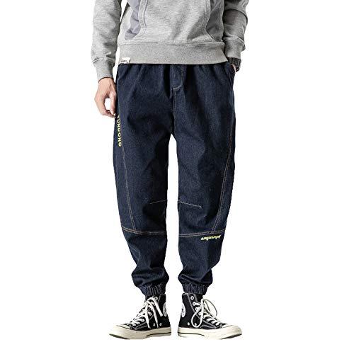 Pantalones Vaqueros de Ajuste Relajado con Cintura Flexible y Comodidad para Hombre, Costura de retales, Letras Personalizadas, pies de Haz, Pantalones de Mezclilla Harlan 7X-Large