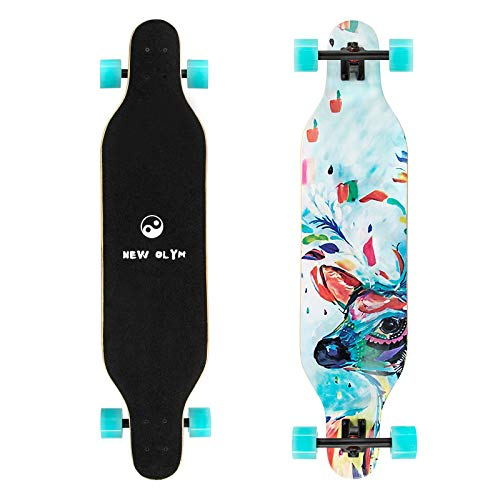 New Olym Longboard Skateboard, 41 Inch 8 Layer Canadian Maple Drop Through Longboards for Youths Beginners. (Milu Deer)