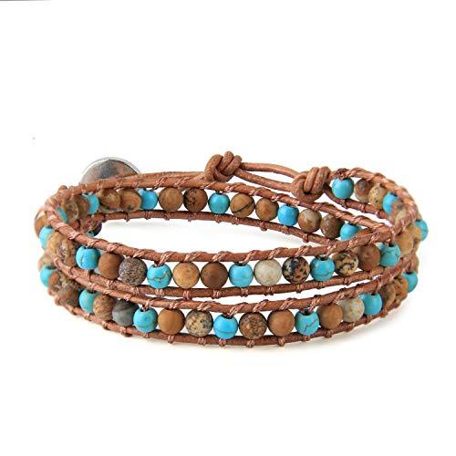 KELITCH Türkis Tiger Auge Perlen 2 Wickelt Armband Natürlich Leder Strecken Armbänder Zum Sommer Charme Armbänder