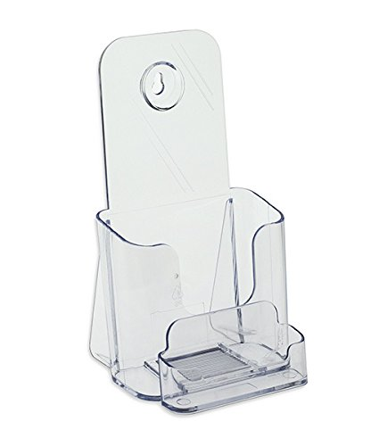 """SourceOne TriFold Brochure Holder for 4"""" x 9"""" Booklets - with Business Card Container - Clear Acrylic Countertop Organizer"""