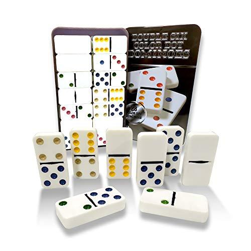 Dominospiel für Erwachsene und Kinder | 28-Steine Domino Set mit bunten Punkte | EUROXANTY Gesellschaftsspiele