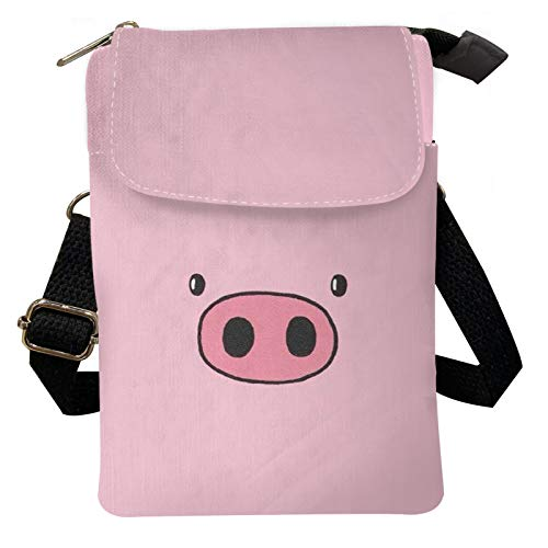 Agroupdream Cute Mini Crossbody Phone Bag Pig Pattern Travel Outdoor Small Messenger Bags Shoulder Cellphone Purse Storage Pouch for Girls Boys Kids