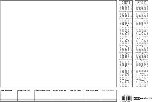 Papier-Schreibunterlage weiß Office Point | ca. DIN A2 | 2-Jahres-Kalender 2021-2022 und Wochenplan | Tischkalender mit 7-Tage Wochenplaner | 25 Blatt (1)