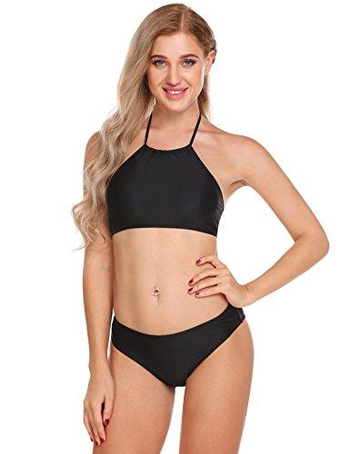 Ekouaer Damen Bikini-Set Blumendruck Bikini Push up Badenanzug Neckholder Swimsuit Gedruckt Zweiteilig Schwimmanzug, Größe EU 38(Herstellergröße: M), Farbe Reines Schwarz