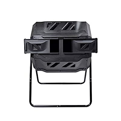 EJWOX Large Composting Tumbler - Dual Rotating Outdoor Garden Compost Bin, BPA Free/Easy Turn/Enough Height/Heavy Duty Capacity Composter