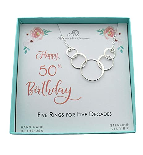 50th Birthday Charm Necklace in Sterling Silver on an 18 Inch Cable Chain. 50th Birthday Gift. 50 Years Old.
