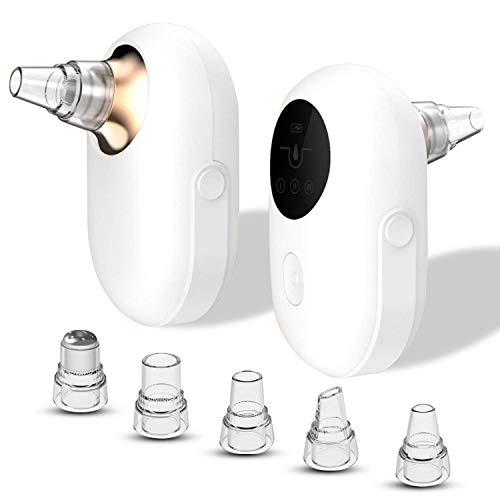 ICDOT Comédons Vide, Mini 3 Niveaux d'aspiration Pore Visage Blemish acné Cleaner électrique extracteur Machine écran d'affichage avec 5 sondes for Le Visage et Le Nez (Couleur : Gold)