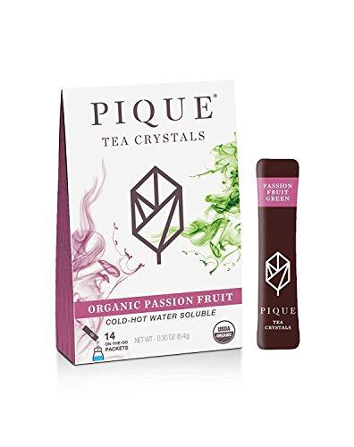 Pique Tea Organic Passion Fruit Green Tea Crystals - Immune Support, Gut Health, Fasting - 14 Single Serve Sticks (Pack of 1)