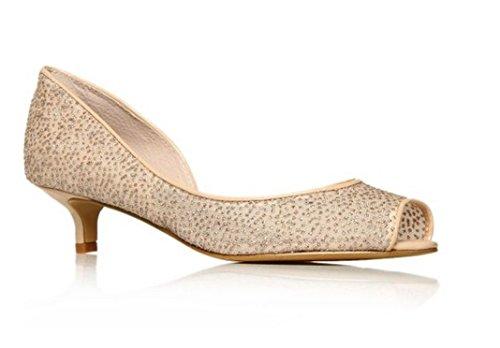 Nine West - Zapatos de vestir para mujer Nude Glitter Size UK 3½