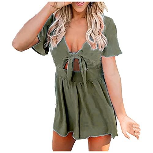 Zonary Damen Kleider Rundhals Blusenkleid Damen Sommerkleid für Damen Langarm Minikleid Lose Tunika mit Bowknot Ärmeln