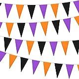 165 Ft Halloween Wimpel Banner Schwarz Lila Orange Dreieck Fahnen Banner Halloween Wimpel Fahnen Halloween Party Hängende Dekoration für Halloween Outdoor Indoor Hängendes Dekor, 5 Stücke