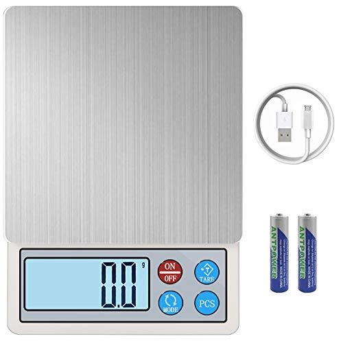 キッチンスケール はかり デジタル USB充電式 デジタルスケール 電子はかり 調理 計量器 0.1g単位 3kg キッチン クッキングスケール 測り 料理 調理 お菓子作り 個数計算 コンパクト 風袋引き オートオフ