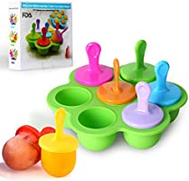 Mini Silicone Popsicle Mold, 7-Cavity DIY Ice Pop Mold with Colorful Plastic Sticks, Popsicle Makers for Egg Bites,...