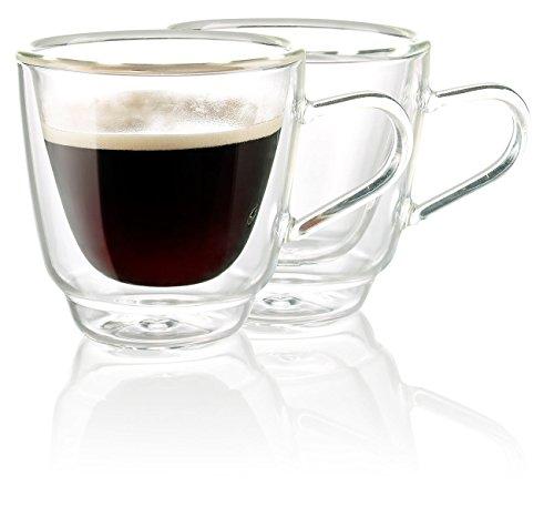 Cucina di Modena Espressogläser: Doppelwandige Espresso-Tassen aus Glas, 2er-Set (Espressotassen Glas)