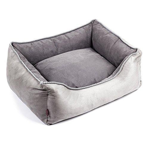 BoutiqueZOO Premium Hundebett | Größe S: 63 x 55 x 19 cm | Bett für Hunde oder Katzen | Hundesofa, Hundekissen, Hundeliege | abwaschbar Hundekorb | Farbe: Grau