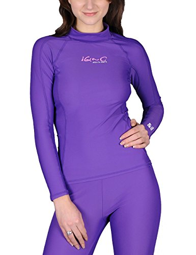 IQ-Company UV Kleidung 300 Shirt Slim Fit Long Sleeve Camiseta con Manga Larga, Mujer, Morado-Morado, XX-Small