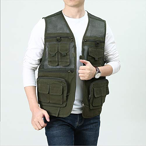 JSY Vest for mannen visserij pocket vest werkkleding Bodywarmers (Color : Green, Size : M)