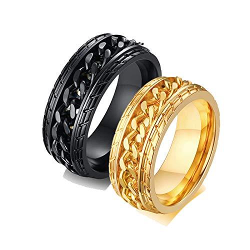 Aooaz 8MM Anillo De Acero Anillo De Cadena De Oro Negro Spinner Anillos para Parejas Mujeres 17 & Hombre 27 Negro Oro
