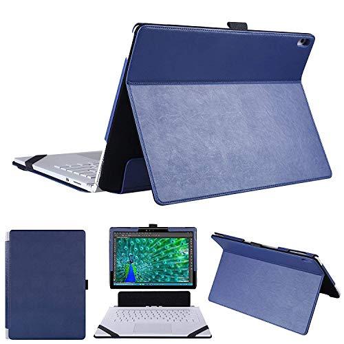 HoYiXi Hülle für Microsoft Surface Book 3 und Surface Book 2 PU Leder Schutzhülle Tasche Etui 2 in 1 Kickstand Book Style Abdeckung für 13.5 Zoll Surface Book 3 und Surface Book 2 und Surface Book 1 – Blau