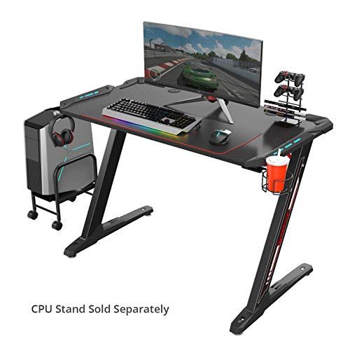 EUREKA ERGONOMIC Gaming Tisch Z1-S Gaming Schreibtisch Gaming Computertisch PC Schreibtisch Gamer mit Blau LED Beleuchtung Getränkehalter und...