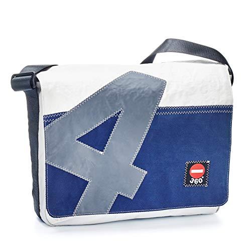 360° Barkasse Segeltuchtasche, Recycling Laptoptasche bis 15'' Zoll, Umhängetasche weiß, Balken blau, Messengerbag