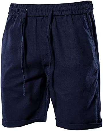 Niubiyansdk Men's Shorts Cotton Linen Men's Shorts Solid Color Home Wear Shorts for Men New Beach Board Shorts Men (Color : Navy, Size : F)