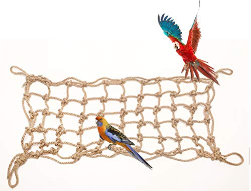 Morezi Parrot Bird Climbing Net Cotton Rope Cage Wood Hemp Rope Ladder Toy Play Gym Hanging Swing Net Parrot Perch Hammock Toy Decor for all kinds of parrot