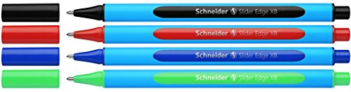 Schneider Slider Edge XB Ballpoint Pen, Black/Red/Blue/Green, Set of 4 Pens (152294)