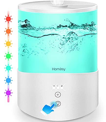 Homasy 2.5L Aceites Esenciales, Ultrasónico con Niebla Fría,Luces de Humor de 7 Colores, Llenado Superior,Modo de Reposo,Apagado Automático para Humidificador Bebés, Blanco Puro
