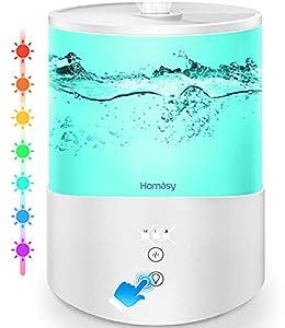 Homasy 2.5L Humidificador Aceites Esenciales,Humidificador Ultrasónico con Niebla Fría,Luces de Humor de 7 Colores, Llenado Superior,Modo de Reposo,Apagado Automático para Humidificador Bebés,Blanco