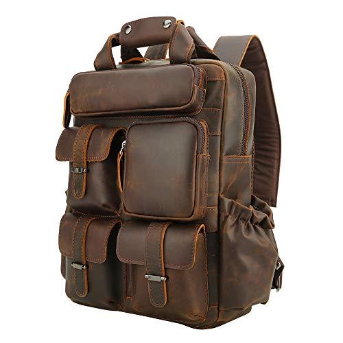 Men's Vintage Classic Leather Travel Weekender Casual Outdoor School Multi-pockets Case 14 Inch Laptop Luggage Suitcase Daypack Overnight Backpack Shoulder Bag Tote Handbag Brown