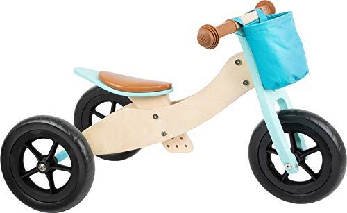 Small foot 11609 Laufrad-Trike Maxi 2 in 1 Türkis aus Holz, Drei- und Laufrad, verstellbarer Sitz und gummierte Reifen