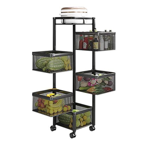 Estantes para verduras de cocina, de piso a techo, multifunción para el hogar, instalación libre giratoria, canasta de verduras, estante de almacenamiento de frutas y verduras de múltiples capas
