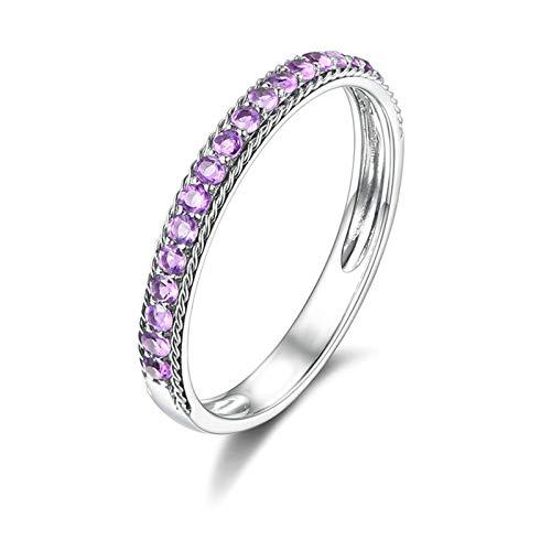 Daesar 18K White Gold Rings Women Ring Engagement Elegant Simple Thin Rows Round Amethyst Promise Rings Silver Ring Size P 1/2