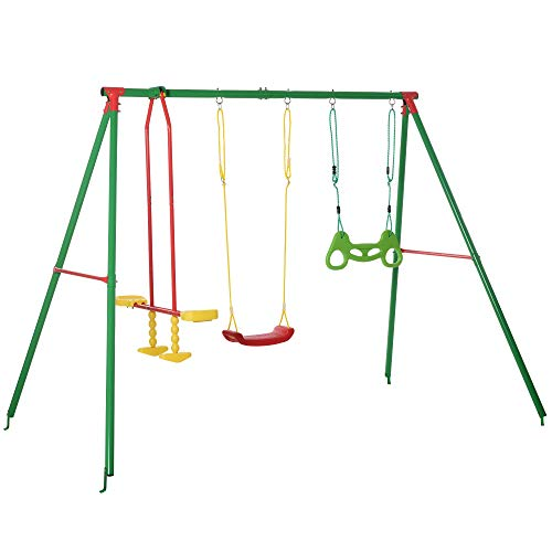 Outsunny 3 in 1 Kids Swing Set w/ Monkey Bar Rings Glider and Adjustable Hanging Rope, Multiple Kids Playground Equipment for Backyard 6-12 Years Old