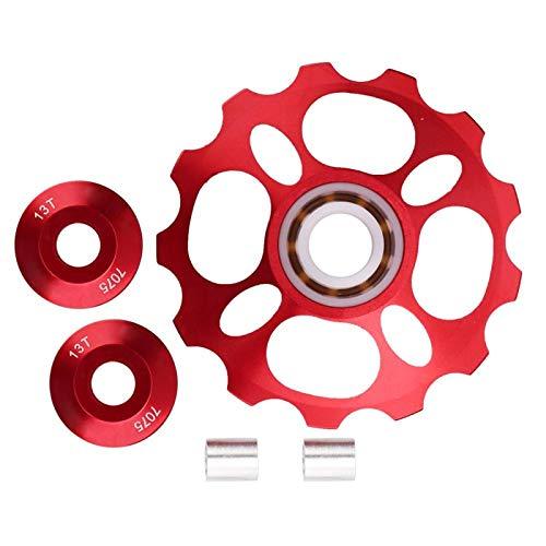 Qqmora Mano de Obra Exquisita Polea de Cambio para Bicicleta de montaña Bicicleta de montaña Resistente al Desgaste Rodamiento de cerámica Rueda de guía Trasera para(Red, 13T)