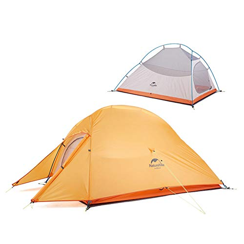 Naturehike Cloud-up 2 Ultraleggero Tenda da Campeggio per 2 Persone - Impermeabile Doppio Strato Tenda per Backpacking 4 Stagioni(Arancia)