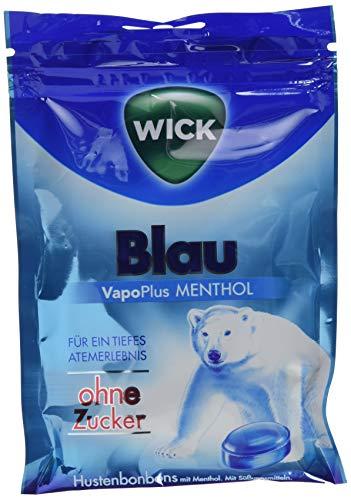 WICK Blau Hustenbonbons ohne Zucker – ein tiefes Atemerlebnis dank Menthol und natürlichem Arvensis Minz-Aroma - 1er Pack (1 x 72 g)