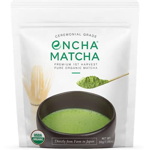 Encha Ceremonial Grade First Harvest Organic Matcha Green Tea Powder, From Uji, Japan (30g/1.06oz)