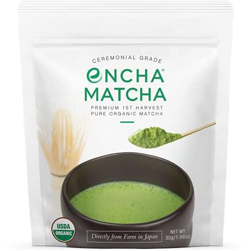 Encha Ceremonial Grade Matcha Green Tea - First Harvest Organic Japanese Matcha Green Tea Powder,...