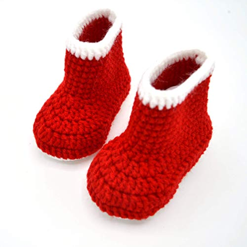 Christmas Booties, Red Baby Boots, Crib Shoes for Infant or Newborn, Baby Shower Gift, Baby First Christmas, Crochet Baby Shoes Gender Neutral Boy Girl
