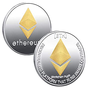 1oz Ethereum Commemorative Coin Gold Plated ETH Ethereum Coin Limited Edition Collectible Coin with Protective Case