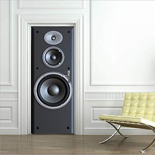 Pegatinas De Pared Pegatinas 3D Para Puertas Decoración De Audio Decoración Para El Hogar Pegatinas Para Puertas Autoadhesivas Impermeables 77 * 200 Cm