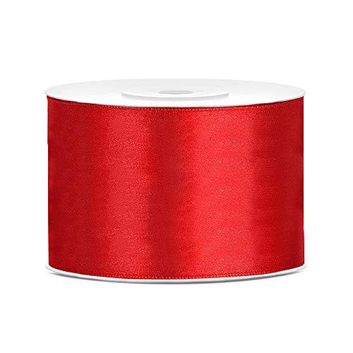 DaLoKu Satinband 6/12/25/38/50/100mm x 25m Geschenkband Schleifenband, Größe: 50mm x 25m, Farbe: Rot