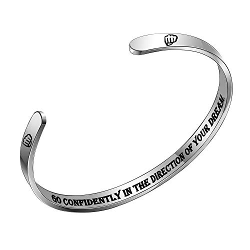 ACAROMAY Inspirational Cuff Bracelets Encourage Bangles Women Men Personalised Birthday Christmas Graduation Gifts (Go confidently in the direction of your dream)