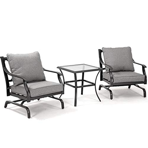 Grand Patio Metal Rocking Chairs Patio Chairs Bistro Sets Indoor Outdoor Chat Set A Comfortable Shake of 5-10° Unique Design Patio Set Wrought Iron Chair Set with Grey Cushions 3PCS