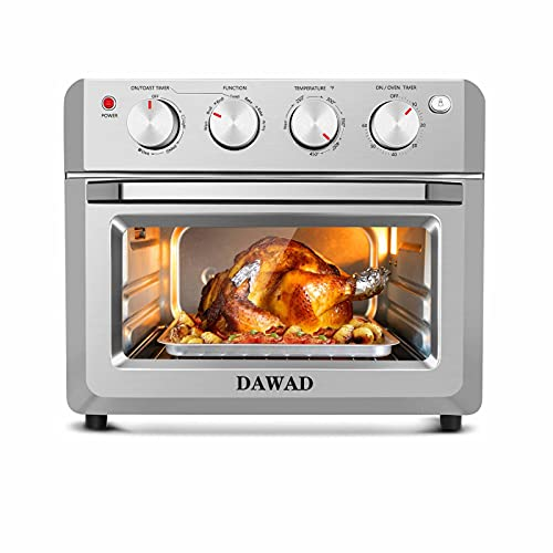 Toaster Oven Air Fryer Combo ,DAWAD 19QT Compact Convection Oven Countertop for Fries, Pizza, Chicken, Cake, Cookies, 4 Accessories & 33 Original Recipes, Easy Clean, Stainless Steel
