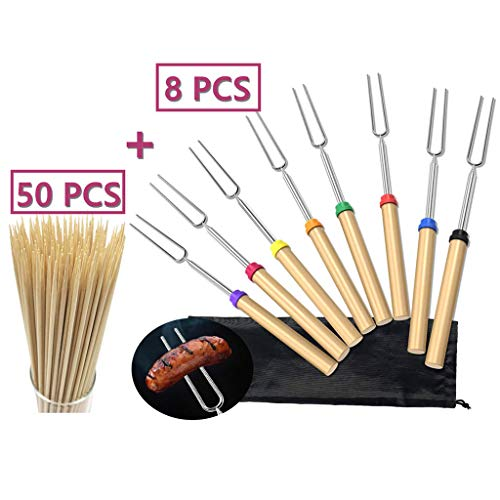 FunSpt Marshmallow Roasting Sticks and 14 inch Natural Bamboo Skewers Extendable Forks BBQ Camping Campfire Hot Dog 32inch Telescoping Sausage Fork Kabob,Grilling,8 PCS and 50 PCS