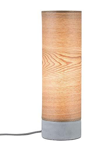 Paulmann 79664 Neordic Skadi Tischleuchte max. 1x20W Tischlampe für E14 Lampen Nachttischlampe Holz/Grau 230V Holz/Beton ohne Leuchtmittel